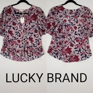 Lucky Brand Floral Print Lace Detail Blouse XS